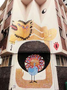 Street Art (mural) by Tika Mural Wall Art, Mural Painting, Paintings, Murals Street Art, Street Art Graffiti, Wall Drawing, Environmental Art, Bird Design, City Art