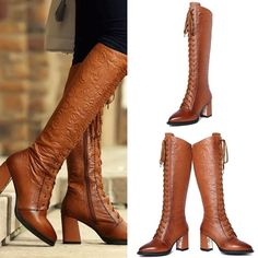 Knee High - Brown Decorated fashion lace-up motorcycle boots @shoesofexception #boots #leather #fashion