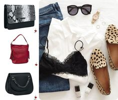 Black and Red bags for a casual outfit
