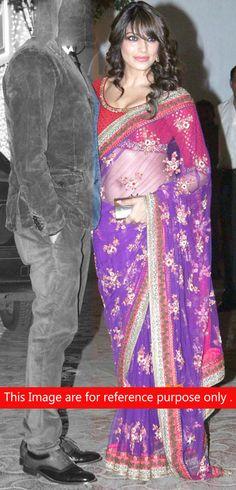 Bipasha Basu In Blue Embroidered Net Saree-IG6244 at IndianGarb
