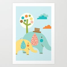 Jungle Ellies Art Print by shiny orange dreams - $18.00