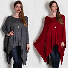 Asymmetric Hem Long Sleeve Top Long sleeve top with an asymmetric hem. Available in burgundy and charcoal. This listing is for the BURGUNDY. Brand new. True to size. NO TRADES DON'T ASK. Bare Anthology Tops Tees - Long Sleeve