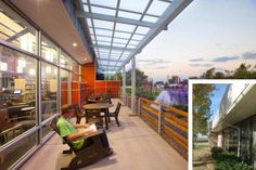 The Outdoor Library: The renovation and expansion of Anythink Perl Mack in Denver, Colorado, created a front porch and transformed an adjacent empty lot into a community garden. The library is heated and cooled by geothermal exchange wells under the parking lot, and the existing roof was updated to support a future solar photovoltaic array. http://hparch.com