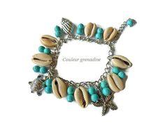 Bracelet turquoise coquillages breloques tortue étoile coquillage : Bracelet par couleur-grenadine33