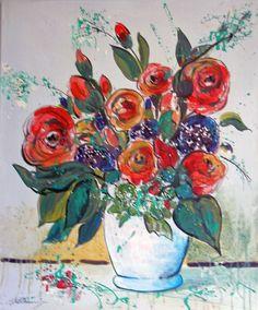 im Garten der Provence.....Geburtstagsstrauß..ACRYL-auf Leinwand-50x60cm...- von..-Kunst-Maler..-Thomas Mühlbauer