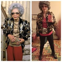 This insane doppelgänger of Grandma Yetta from The Nanny: 26 Genius Halloween Costume Ideas For TV Lovers Grandma Halloween Costume, Old Lady Costume, Clever Halloween Costumes, Halloween Outfits, Cool Costumes, Halloween Party, Costume Ideas, School Girl Outfit, Girl Outfits