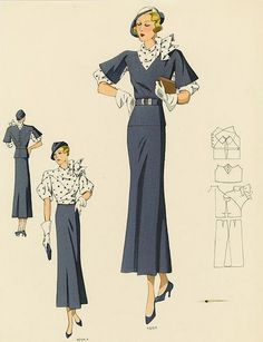 1930s Fashion Plate from NYPL color illustration vintage fashion style art deco long skirt dress navy blue white polka dot blouse puff sleeves jacket vest shoes hat gloves purse belt hairstyle