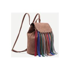 Brown Faux Leather Multicolor Fringe Flap Backpack (210 GTQ) ❤ liked on Polyvore featuring bags, backpacks, vegan bags, fringe bags, brown faux leather backpack, faux leather rucksack and multi colored backpacks