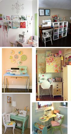 Very cute organized sewing rooms!
