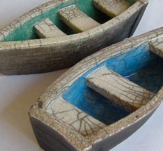 rowena brown raku-fired boats