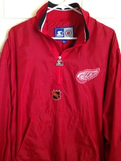 Detroit Red Wings Starter Pull Over Jacket Wind Breaker Large NHL Embroidered #Starter #DetroitRedWings