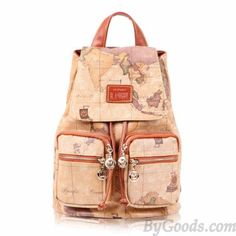 Cute, Unique Backpack with Zipper Accessories, Map Print