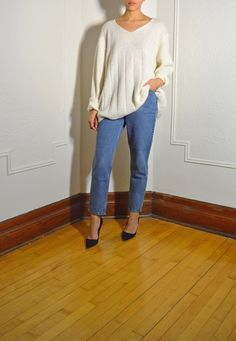 Ivory wool loose fitting sweater   https://www.etsy.com/listing/221742592/v-neck-ivory-wool-knit-oversize-sweater?ref=shop_home_active_1  #ivory #sweater #top #wool #vintage #tokenmtl #montreal #etsyvintage #loose #vneck