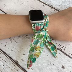 Womens multi wrap Apple watch bracelet custom handmade using Liberty Betsy tana lawn fabric. Please leave a note during checkout with your Apple Watch Size and Colour (example: 42mm Silver). This watch band will fit all three series of Apple watches and are handmade by me and my