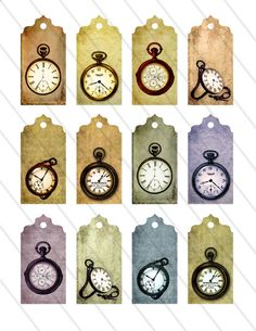 Clock Tags Labels printable digital collage sheet 007. $2.80, via Etsy.