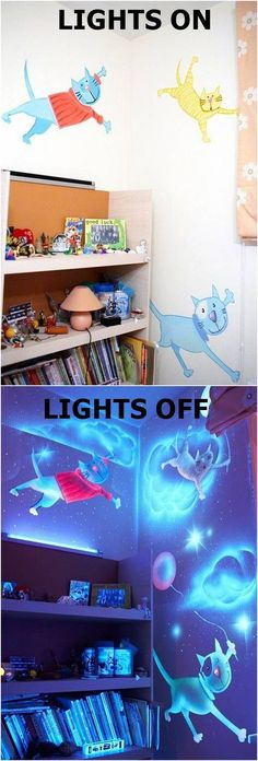 How to DIY Glow In The Dark Paint Wall Murals #craft #wall_art #kids