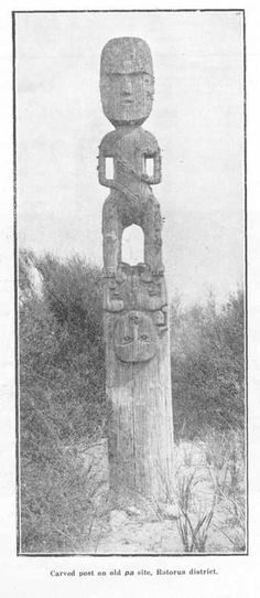 Carved post on old pa site, Rotorua district Maori People, Garden Poles, Polynesian Art, Maori Art, The Beautiful Country, Forts, Woodcarving, First Nations, Tree Of Life