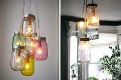 Hanging Mason Jar Lights DIY          iy by cathleen