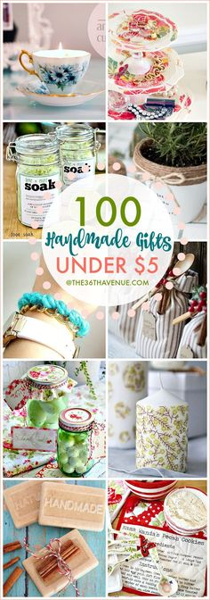 Over 100 Handmade Gifts that are perfect for Christmas gifts, birthday presents, and Mother's Day Gifts... These handmade gift ideas under five dollars are super easy to make, adorable, and affordable... MUST PIN!