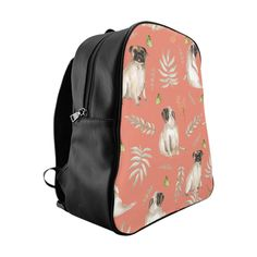 Our leafy pug design is a unique watercolor pattern featuring an adorable pug, butterflies and tropical leafs. Our stylish backpack features our unique design a Pug Accessories, Stylish Backpacks, Watercolor Pattern, Pug Life, Pugs, Brown, Gifts, Collection, Products
