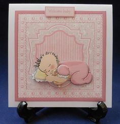 baby girl baby shower card and decoupage on Craftsuprint designed by Angela Wake - made by Michelle  Chivers - Printed onto matte coated paper, then mounted onto white card. I used silicone for the decoupage and finished of with a pink insert. - Now available for download!