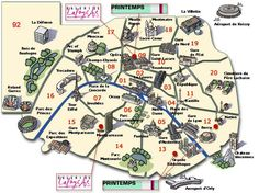 Knowing where to live in Paris isn't easy as the city is immense and offers various different ambiances. Paris is not just a city, but a mosaic of different areas with different identities. Paris Map, Paris City, Paris Travel, Paris Monuments, Paris Landmarks, Famous Monuments, France Map, Paris France, Bastille