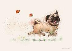 The Furminator pug watercolor like art by Thubakabra
