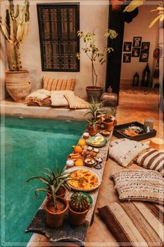 Breakfast in the pool Marrakech Morocco. Photo by - Breakfast in the pool Marrakech Morocco. Photo by - Home And Deco, Pool Designs, Home Look, My Dream Home, Future House, Outdoor Spaces, Outdoor Pool, Outdoor Living Patios, Outdoor Plants