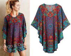 Marokkanische Urlaub Dubai Boho Chic Print Fledermaus Kaftan Kimono Tunika Bluse oben – ShopBoldlyHer – Join in the world Kaftan Designs, Bohemian Mode, Boho Chic, Diy Fashion, Fashion Dresses, Gothic Fashion, Steampunk Fashion, Bohemian Schick, Hippie Style Clothing