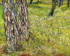 van Gogh, Tree Trunks in the Grass, April 1890.