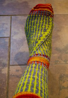 https://flic.kr/p/iEidWh | More colorwork socks | A little bit better view of the foot decrease. I riffed off the Cat Bordhi book, but translated it to be knit top down.