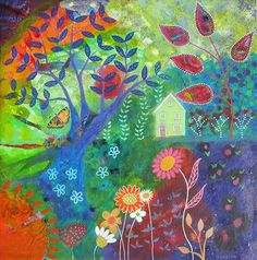 Green Glade, 16 x 16, Original mixed media canvas painting, wall art, colourful, abstract, landscape, cottage,