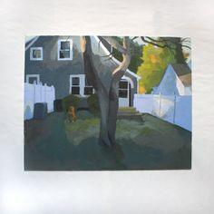 Landschaftsmalerei  original Kunst  Hinterhof von ElizabethMayville, $400.00