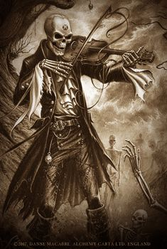 Danse Macabre - Alchemy Gothic artwork. The realisation of a cemeterial nightmare and the medieval allegory on the unifying force of death, lead by the necromantic maestro, Christian de la Mort.