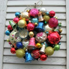 """I just love Mitzis """"metallic fruit cake""""! Great way to use """"left over"""" shiney brites and other vintage ornaments, oh and a pan! :)"""