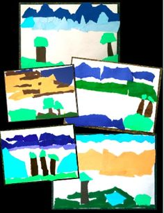 Torn Paper Landscape Collage - a NO PREP geography related art lesson - keep it simple or make it more complex with additional elements