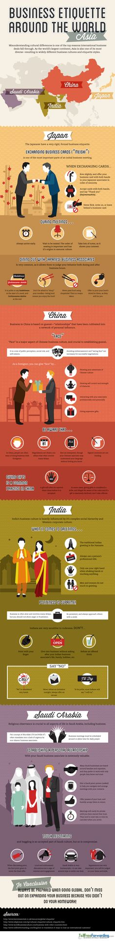 always good to know the business etiquette of other cultures for when you travel. Global Business Etiquette: AsiaIt's always good to know the business etiquette of other cultures for when you travel. Global Business, Business Travel, Business Tips, Business Cards, Marketing, Leadership, Etiquette And Manners, Business Education, Business School