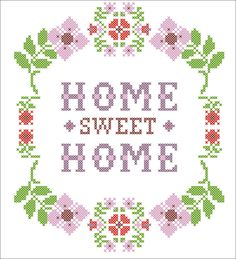 BOGO FREE PDF flower Home Sweet Home cross by Rainbowstitchcross