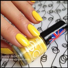 I don't know who Rita Ora is. But now I do 'cause she has her name on a capsule collection for Rimmel Fall I got the Rimmel Rita Ora 60 Second Yellow Nail Polish, Yellow Nails, Rimmel Nail Polish, London Nails, Rimmel London, Rita Ora, Swatch, Finger, Health And Beauty