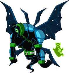 ENGLISH: Name:Freak Chill Is a fusion between:Ghostfreak and Big Chill Species:½ Ectonurite½ Necrofiggian (Necronurite) Planet:Anur Phateos/Kylmy...