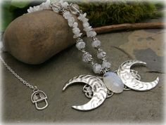 Moonstone Triple Moon Goddess Necklacemoon by IslandBeadBoutique, $29.99
