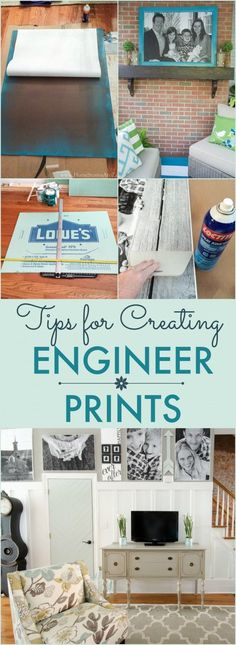 Tips for Creating Engineer Prints - Home Stories A to Z Apartment Decorating For Couples, Diy Cutting Board, Up House, House Wall, Living Room Art, Diy Frame, Diy Wall Art, Wall Decor, Home Projects