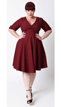 Preorder -  Unique Vintage Plus Size 1950s Style Burgundy Red Delores Swing…
