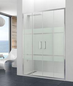 Mampara de baño modelo PRESTIGE, integra con cristales de 8mm, perfilería aluminio y doble polea silenciosa con pulsador liberador para facilitar la limpieza.