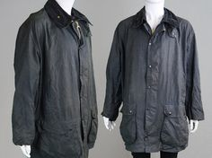 Vintage 80s BARBOUR Border A205 Wax Jacket Navy by ZeusVintage