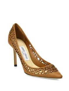 JIMMY CHOO Lasercut Leather Point-Toe Pumps. #jimmychoo #shoes #pumps