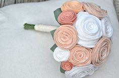 Felt Flower Bridal Bouquet in Pale Peach Blush by roundtherosies, $75.00