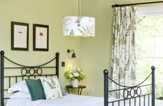 Floral Bedroom in Farrow and ball Churlish Green