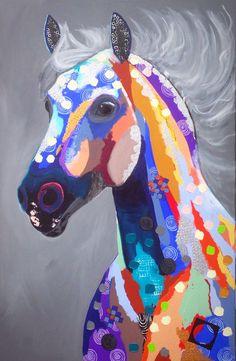 """Colorful Lipizzaner"", afmeting 80x120, acryl op doek."
