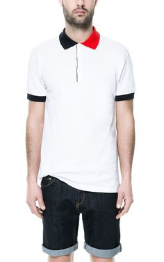 6abe6d0a654e PIQUÉ POLO SHIRT WITH TWO - TONE COLLAR - T - shirts - Man